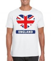 Engeland hart vlag t-shirt wit heren trend