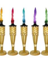 Fakkel goud met vlam olie 35 cm trend