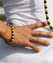 Fan armband blauw met geel trend