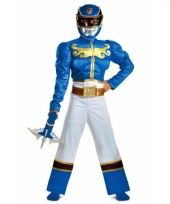 Feest blue ranger kostuum met spieren trend