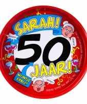 Feest metalen dienblad 50 jaar sarah 30 cm trend