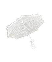Feest paraplu wit kant 70 cm trend