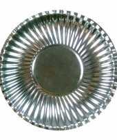 Feestartikelen borden metallic zilver 10 stuks trend