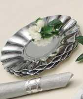 Feestartikelen diepe borden zilver 21 cm trend