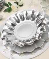 Feestartikelen diepe borden zilver 27 cm trend