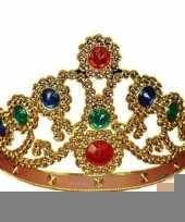 Feestartikelen gouden kroon met gekleurde stenen trend