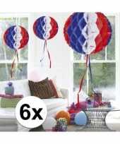 Feestversiering blauw wit rood decoratie bollen 30 cm set van 3 trend 10121384