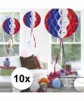 Feestversiering blauw wit rood decoratie bollen 30 cm set van 3 trend 10121386