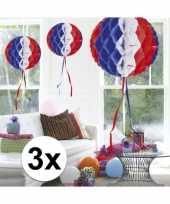 Feestversiering blauw wit rood decoratie bollen 30 cm set van 3 trend