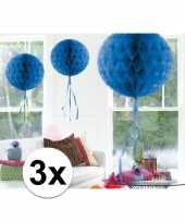 Feestversiering blauwe decoratie bollen 30 cm set van 3 trend 10121255