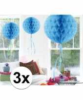 Feestversiering blauwe decoratie bollen 30 cm set van 3 trend