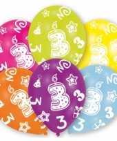 Feestversiering gekleurde ballonnen 3 jaar 6 stuks trend