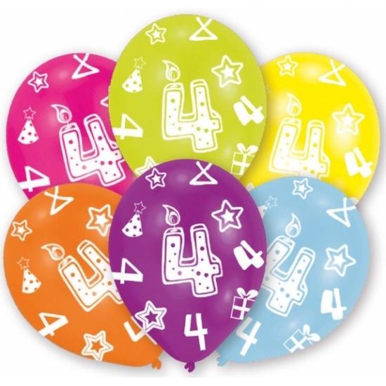 Feestversiering gekleurde ballonnen 4 jaar 6 stuks trend