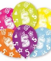 Feestversiering gekleurde ballonnen 5 jaar 6 stuks trend