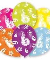 Feestversiering gekleurde ballonnen 6 jaar 6 stuks trend