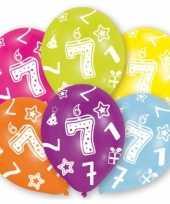 Feestversiering gekleurde ballonnen 7 jaar 18 stuks trend