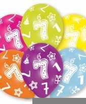 Feestversiering gekleurde ballonnen 7 jaar 6 stuks trend