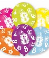Feestversiering gekleurde ballonnen 8 jaar 6 stuks trend