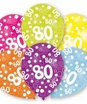 Feestversiering gekleurde ballonnen 80 jaar 6 stuks trend