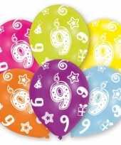Feestversiering gekleurde ballonnen 9 jaar 6 stuks trend