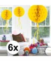 Feestversiering gele decoratie bollen 30 cm set van 3 trend 10121239