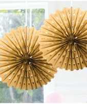 Feestversiering gouden decoratie waaier 45 cm trend