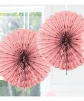 Feestversiering licht roze decoratie waaier 45 cm trend