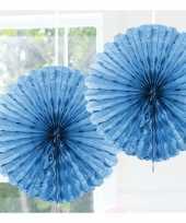 Feestversiering lichtblauwe decoratie waaier 45 cm trend