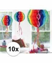 Feestversiering regenboog decoratie bollen 30 cm set van 3 trend 10121370