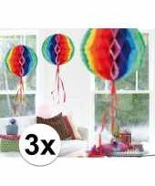 Feestversiering regenboog decoratie bollen 30 cm set van 3 trend