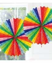 Feestversiering regenboog kleuren decoratie waaier 45 cm trend