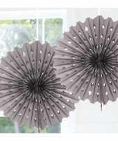 Feestversiering zilveren decoratie waaier 45 cm trend