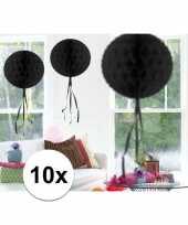 Feestversiering zwart decoratie bollen 30 cm 10 stuks trend
