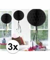 Feestversiering zwart decoratie bollen 30 cm 3 stuks trend
