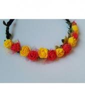 Festival bloemen hoofdband rood geel trend