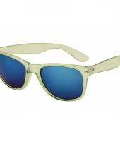 Festival zonnebril lime met blauwe glazen trend