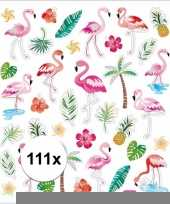 Flamingo stickers gekleurd 111 stuks trend