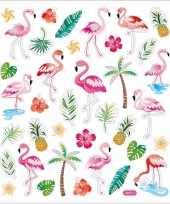 Flamingo stickers gekleurd 37 stuks trend
