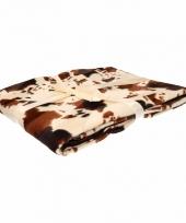 Fleece deken beige met koeienprint print 130 x 170 cm trend