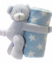 Fleece deken blauwe met knuffel beer 75 x 75 cm trend