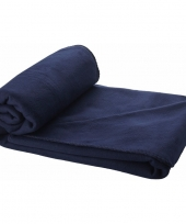 Fleece deken navy 150 x 120 cm trend