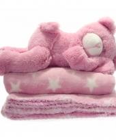 Fleece deken roze met knuffel beer 75 x 75 cm trend