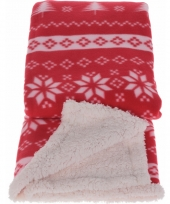 Fleece deken winterse print rood trend