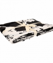 Fleece deken wit met koeienprint print 130 x 170 cm trend