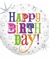 Folie ballon gefeliciteerd happy birthday 46 cm met helium gevuld trend