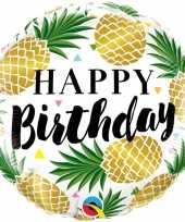 Folie ballon gefeliciteerd happy birthday ananas 45 cm met helium gevuld trend