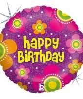 Folie ballon gefeliciteerd happy birthday bloemen 46 cm met helium gevuld trend