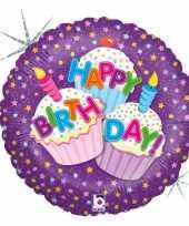 Folie ballon gefeliciteerd happy birthday cup cakes 46 cm met helium gevuld trend