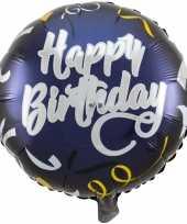 Folie ballon gefeliciteerd happy birthday donkerblauw 45 cm met helium gevuld trend