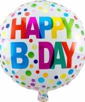 Folie ballon gefeliciteerd happy birthday gekleurde stippen 45 cm met helium gevuld trend